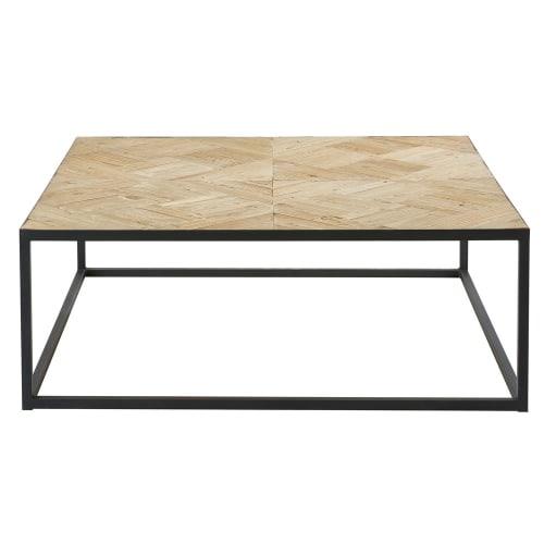 Tavolini Soggiorno Maison Du Monde.Tavolino Da Salotto Intarsiato In Olmo Riciclato E Metallo Nero Camus Maisons Du Monde