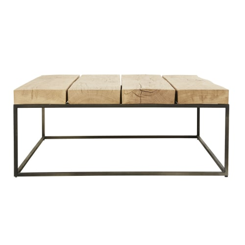 Tavolino da salotto quadrato in legno massello di quercia e metallo nero |  Maisons du Monde