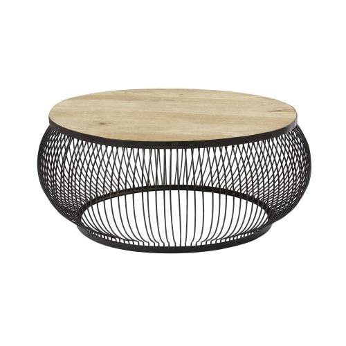 Tavolini Soggiorno Maison Du Monde.Tavolino Da Salotto Rotondo In Legno Massello Di Mango E Metallo Nero Juana Maisons Du Monde