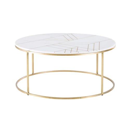 Tavolino da salotto rotondo in marmo bianco e ferro dorato