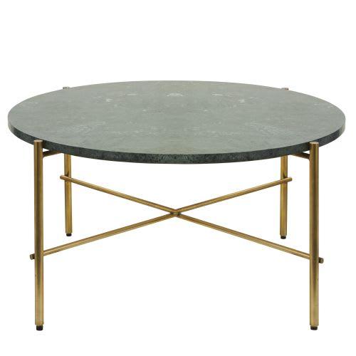 Tavolino da salotto rotondo in marmo verde e metallo color ottone