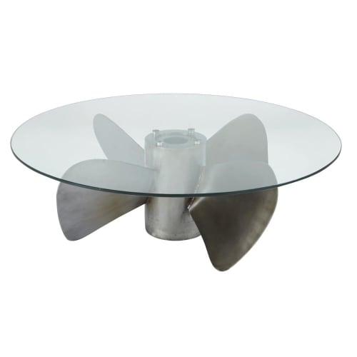 Tavolino da salotto rotondo in vetro temperato ed elica in