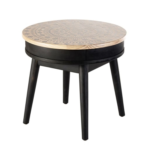 Tavolino Da Salotto Rotondo Motivi Grafici Neri Mayana Maisons Du Monde