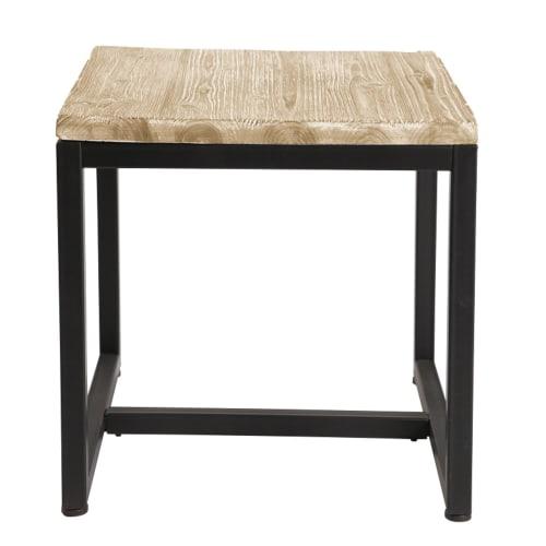 Tavolino Salotto Stile.Tavolino Da Salotto Stile Industriale In Abete Massiccio Sbiancato E Metallo Maisons Du Monde