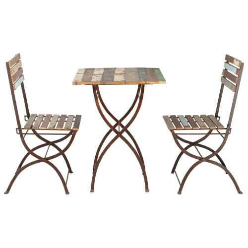 Maison Du Monde Sedie Da Giardino.Tavolo 2 Sedie Da Giardino In Legno Riciclato E Metallo Effetto
