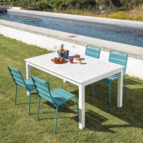 Tavolo Allungabile Bianco Da Giardino In Alluminio L Da 160 A 210 Cm Extenso Maisons Du Monde