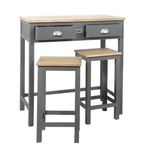 Tavolo alto con 2 sgabelli in rovere e pino grigia