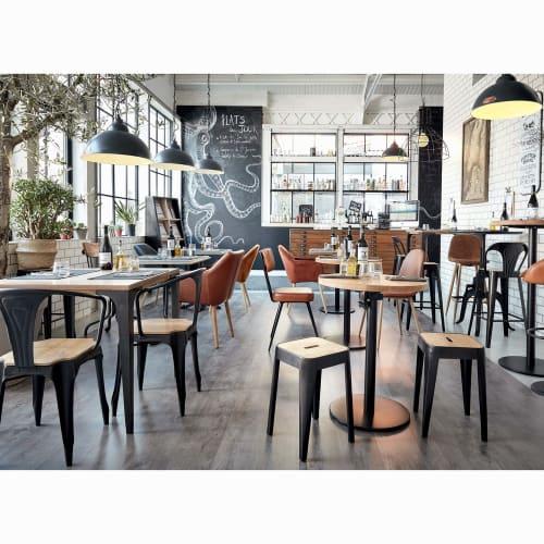 Tavolo alto professionale industriale in legno di mango chiaro, 75 cm