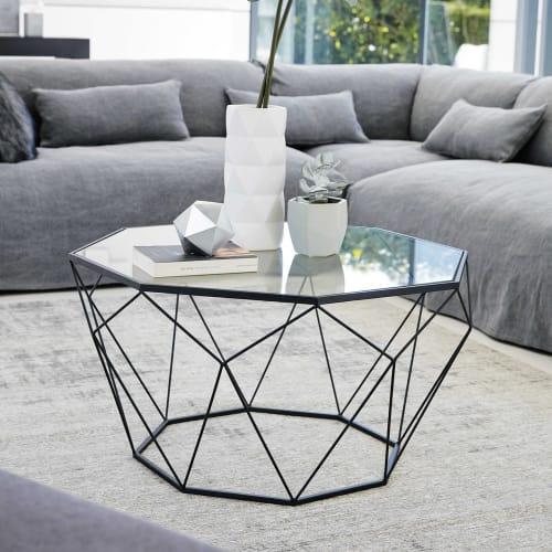 Tavolini Soggiorno Maison Du Monde.Tavolo Basso Nero In Vetro Temprato E Metallo Blossom Maisons Du Monde