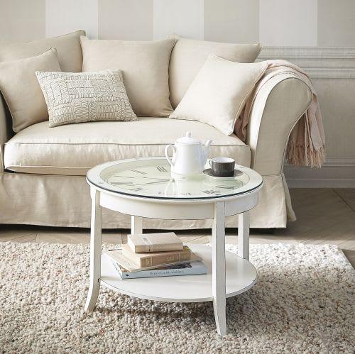 Tavolo basso rotondo bianco in vetro e legno anticato con orologio D 72 cm