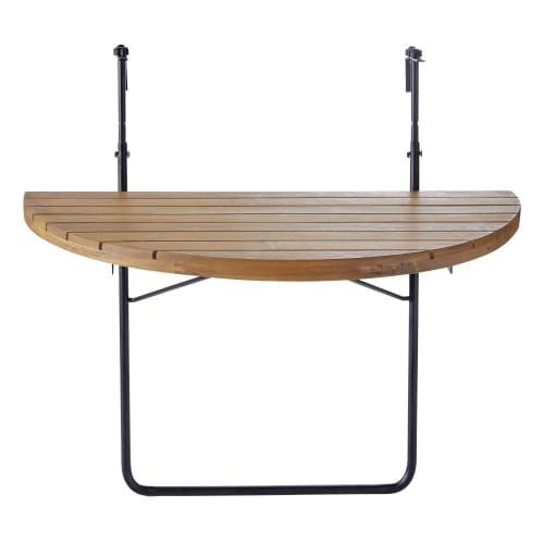 Tavoli Allungabili E Richiudibili.Tavolo Da Balcone Pieghevole In Acacia Massello E Metallo Nero 80