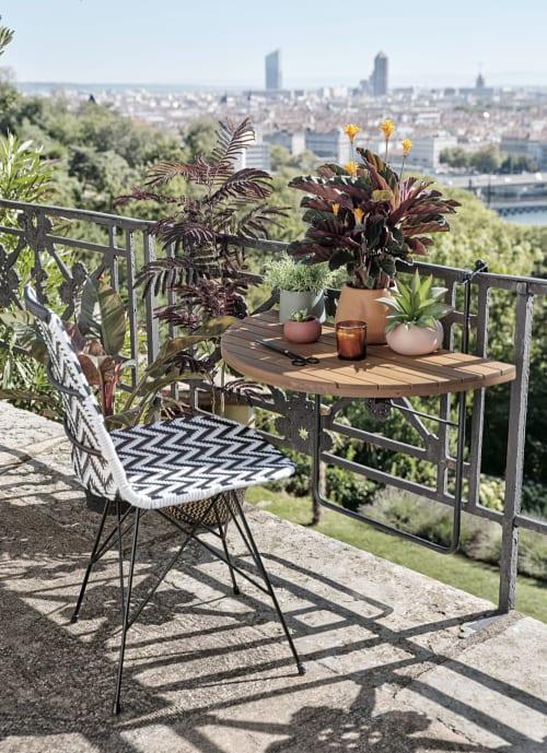 Tavoli Pieghevoli Per Balconi.Tavolo Da Balcone Pieghevole In Acacia Massello E Metallo Nero 80