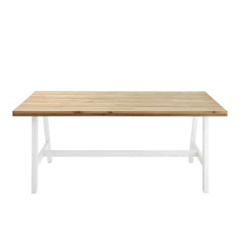 Tavoli Da Giardino In Acacia.Tavolo Da Giardino 6 8 Persone In Acacia E Metallo Bianco 180 Cm Countryside Maisons Du Monde