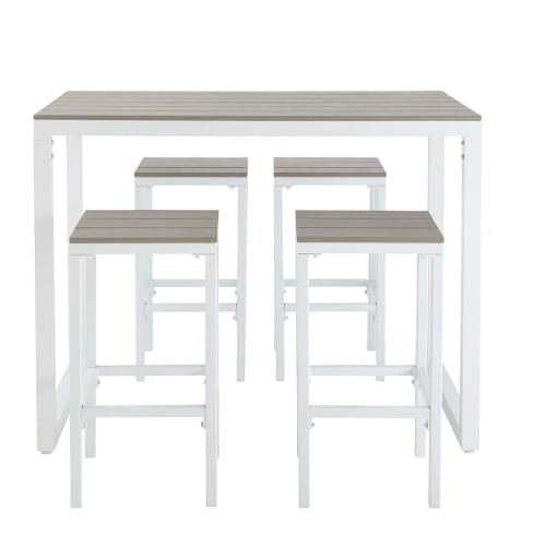 Tavoli Alti Da Esterno.Tavolo Da Giardino Alto Con 4 Sgabelli In Alluminio 128 Cm Escale Maisons Du Monde