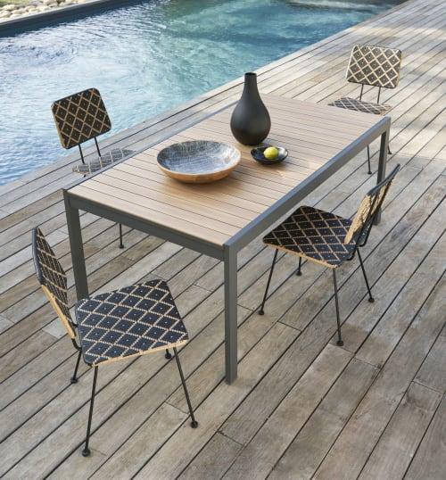 Tavolo Da Giardino Estensibile 8 12 Persone In Alluminio Color Effetto Teak E Grigio Antracite 180 270 Cm Doolin Maisons Du Monde