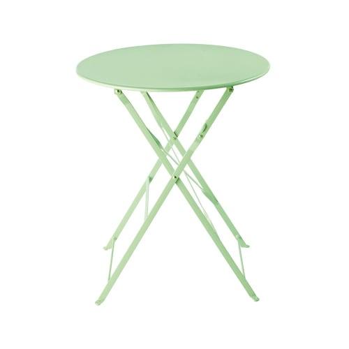 Maison Du Monde Tavoli Da Esterno.Tavolo Da Giardino Pieghevole In Metallo Verde Acqua D 58 Cm