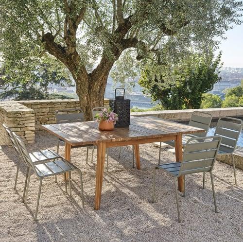 Tavolo Da Giardino Quadrato Allungabile In Acacia Massello 6 8 Persone 120 160 Cm Garda Maisons Du Monde