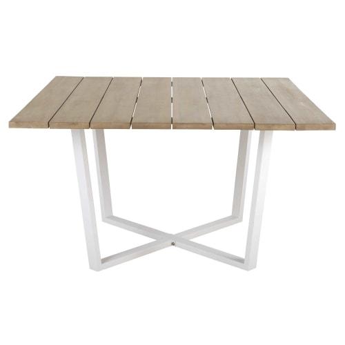 Tavolo Da Giardino Quadrato In Acacia Massello E Metallo Bianco 8 Persone 130 Cm Lanzarote Maisons Du Monde