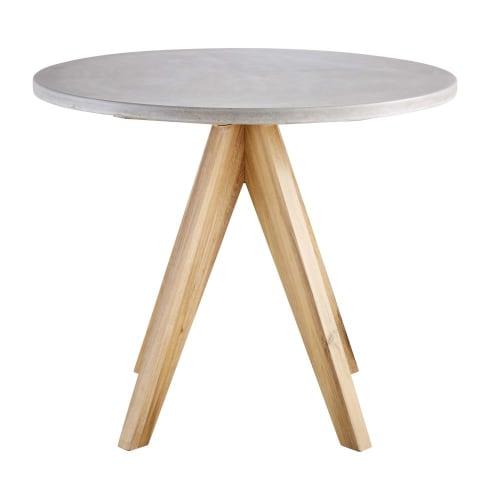 Tavoli Da Giardino In Cemento.Tavolo Da Giardino Rotondo In Cemento E Acacia Massello 3 Persone