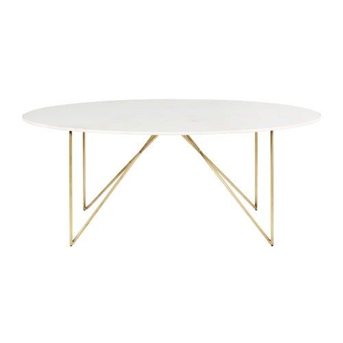 Maison Du Monde Tavoli Da Pranzo.Tavolo Da Pranzo 4 6 Persone In Marmo Bianco E Ferro Dorato 200 Cm