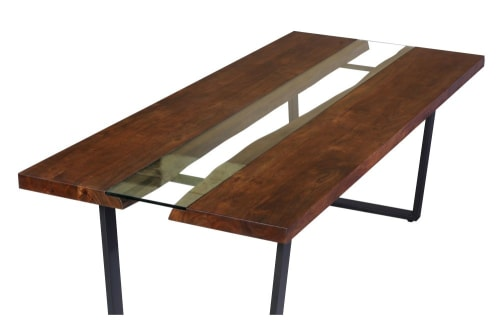 Tavolo da pranzo 8/10 persone in acacia, vetro e metallo ...