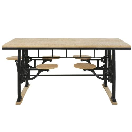 Cerco Sgabelli In Legno.Tavolo Da Pranzo 8 Persone Con Sgabelli In Legno Di Mango E Ghisa 180 Cm Maisons Du Monde