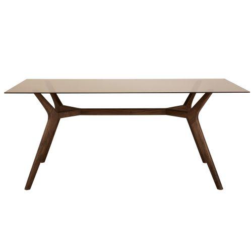 Tavolo da pranzo 8 persone in vetro e legno di acacia, 180 cm