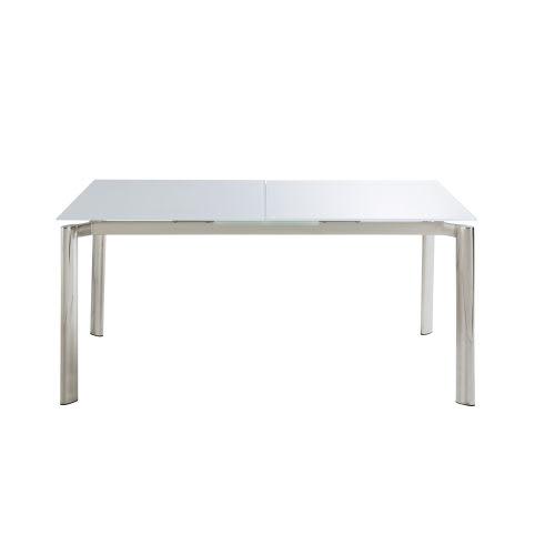 Tavolo da pranzo allungabile 6/8 persone in metallo e vetro bianco, 160/200  cm