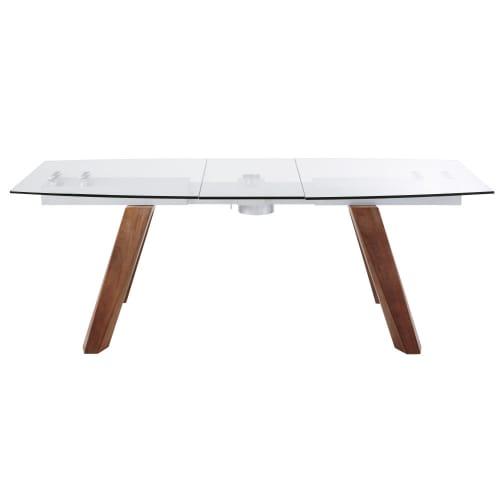 Tavolo Da Pranzo Allungabile E Sedie.Tavolo Da Pranzo Allungabile 8 10 Persone In Vetro E Legno Di