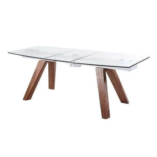 Tavolo Da Pranzo Allungabile Vetro.Tavolo Da Pranzo Allungabile 8 10 Persone In Vetro E Legno Di