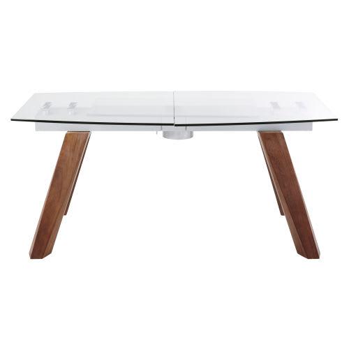 Tavolo da pranzo allungabile 8/10 persone in vetro e legno di  pioppo,165/210 cm