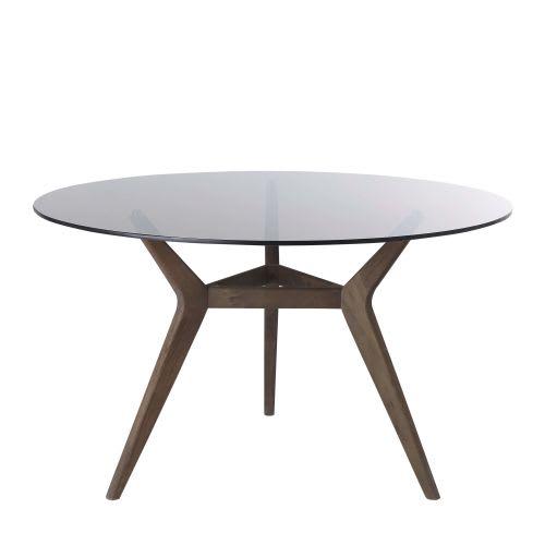 Tavolo da pranzo rotondo 4/6 persone in vetro e acacia