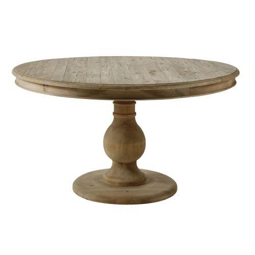 Tavolo da pranzo rotondo 6/7 persone in legno di pino riciclato, 140 cm