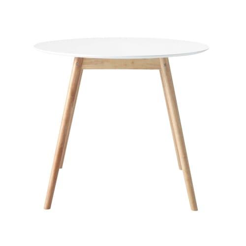 Tavolo Rotondo 90 Cm.Tavolo Da Pranzo Rotondo Bianco 4 Persone 90 Cm Maisons Du Monde