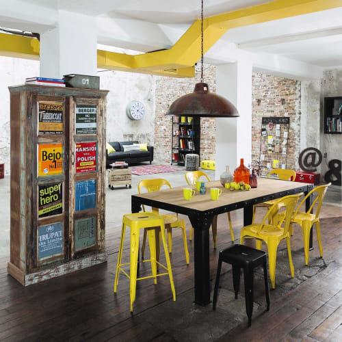 Tavolo Da Pranzo Stile Industriale In Massello Di Mango E Metallo 8 10 Persone 200 Cm Factory Maisons Du Monde