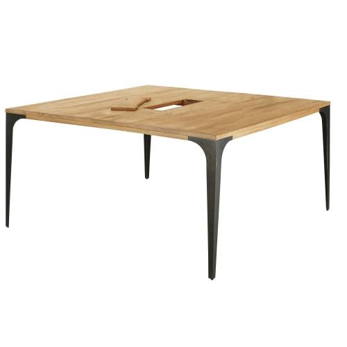 Tavolo da riunione in legno di mango chiaro e metallo grigio, 145 cm