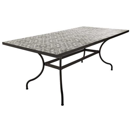 Tavolo in metallo e quadretti di cemento per sala da pranzo L 200 cm