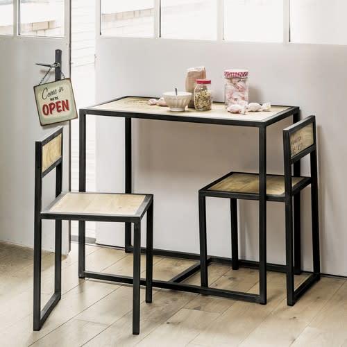 Tavolo per sala da pranzo + 2 sedie in mango e metallo 90 cm