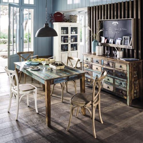 Tavolo Per Sala Da Pranzo In Legno Riciclato Effetto Anticato L 160 Cm Calanque Maisons Du Monde