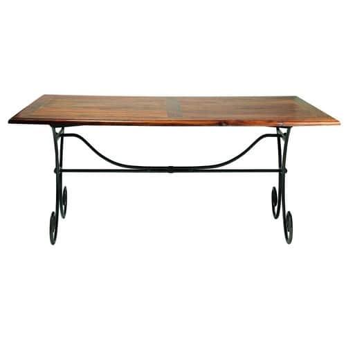 Tavolo per sala da pranzo in massello di legno di sheesham e ferro battuto  L 180 cm