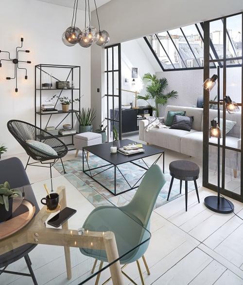 Tavolo Per Sala Da Pranzo In Vetro E Quercia 120 Cm Mirage Maisons Du Monde