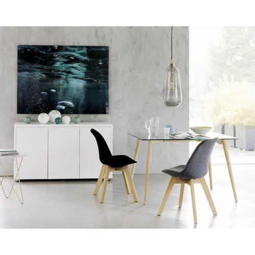Tavolo per sala da pranzo in vetro e quercia 120 cm