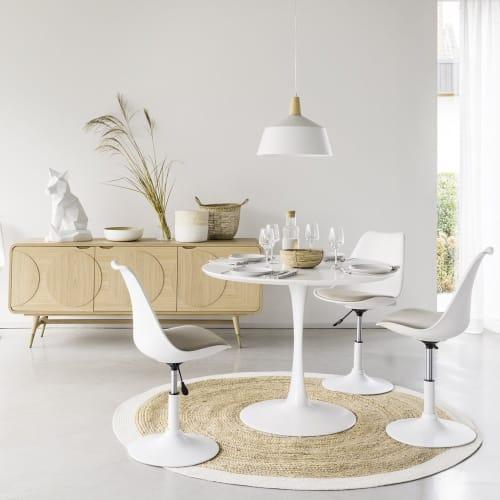 Tavolo Rotondo Bianco Per Sala Da Pranzo L 100 Cm Circle Maisons Du Monde