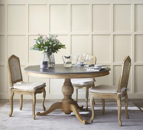 Tavolo rotondo grigio ardesia per sala da pranzo in legno D 140 cm
