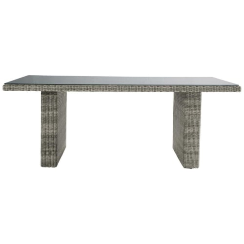 Tempered Glass And Resin Wicker Garden Table In Grey W