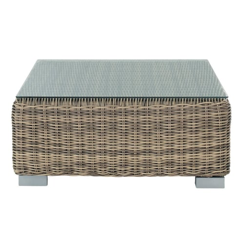 Tempered Glass And Wicker Garden Coffee Table W 76cm Maisons Du Monde