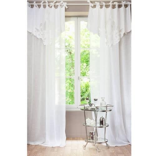 Tende A Vetro Maison Du Monde.Tenda Bianca In Lino Con Laccetti Al Pezzo 140x300 Cm