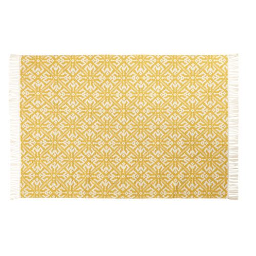 Teppich Aus Gewebtem Baumwoll Jacquard Mit Grafischen Motiven In Gelb Und Ecru 140x200
