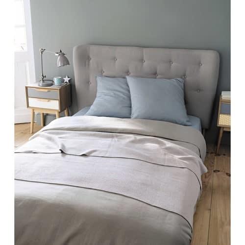 Testata da letto imbottita vintage grigia in tessuto L140cm