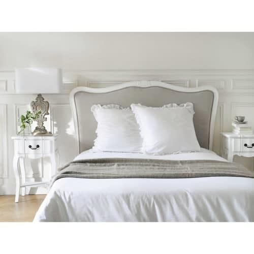 Testata da letto in massello di legno e cotone L 140 cm